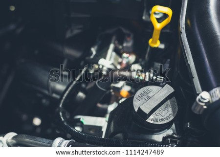 Close up shot of car engine for background,Cover engine oil in engine car