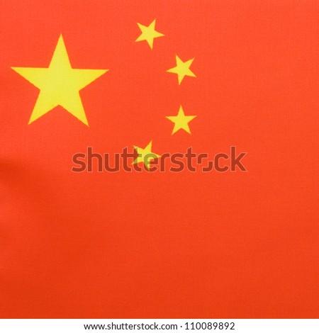 Close-up shot of China flag.
