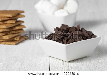 Close-up shot of chocolate chips in bowl with other smores ingredient in background.