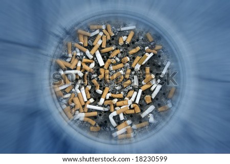 close up shot of cigarettes butt in ashtray