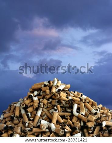 close up shot of cigarettes butt mass
