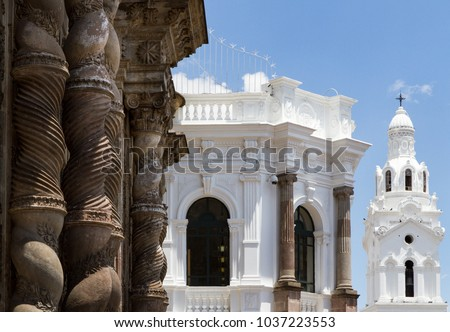 Close up shot of colonial architecture including in the historic centre Quito, Ecuador - Shutterstock ID 1037223553