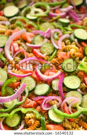 Close up shot of colorful salad in a tray