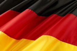 Close up shot of colorful, wavy German flag