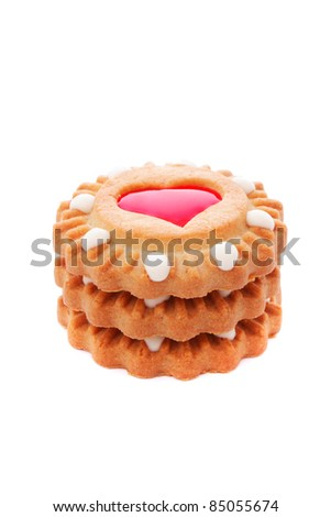 close up shot of cookies isolated on white background