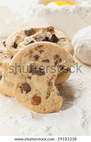 Close up shot of cookies on a table with flour
