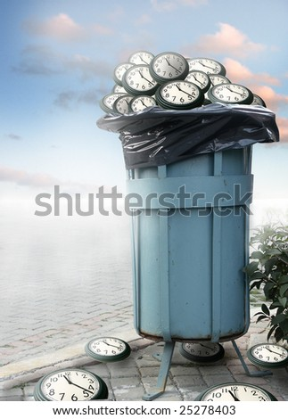 close up shot of dirty dumpster and several clocks in it