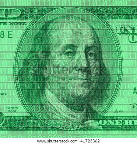 close up shot of dollar bill on binary code background
