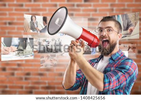 Close up shot of emotive shocked bearded young male opens mouth widely, stare at camera, points upwards aside at blank space, says: Wow, it`s something unbelievable! People and emotions concept #1408425656