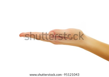 close up shot of female hand holding or showing something with white copyspace isolated on white