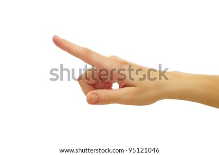 close up shot of female hand with a finger touching somethimg or pushing a button isolated on white background