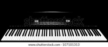 Close up shot of full keys  piano keyboard set
