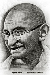 Close up shot of Gandhi on rupee note