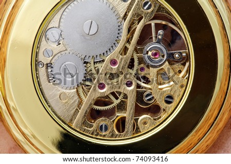 Close-up shot of gear coupling in pocket watch.
