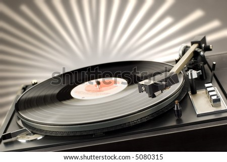 close up shot of gramophone player with backlight