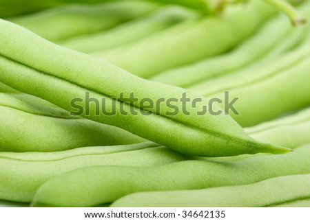 Close-up shot of green bean pods. Shallow DOF