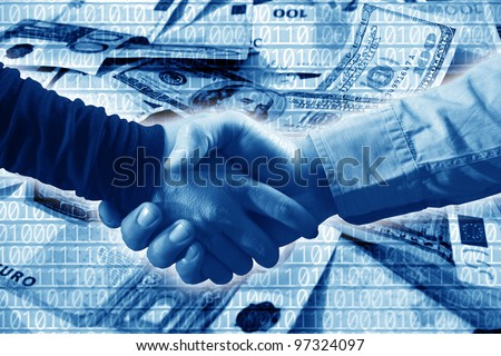 close up shot of handshake and money background
