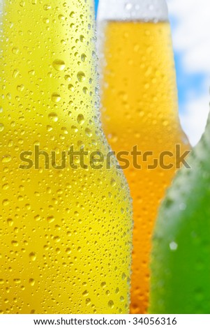 Close up shot of ice cold drinks