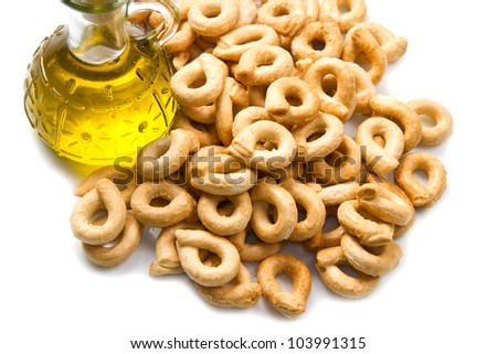 Close up shot of Italian taralli, traditional bakery product
