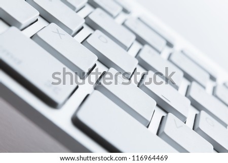 Close up shot of keys of computer keyboard