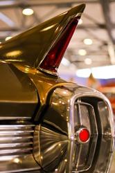 Close up shot of lighting equipment of the  retro car