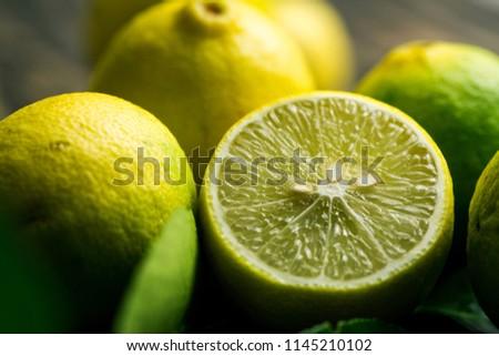 Close up shot of lime half fruit. Citrus. #1145210102