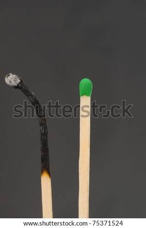 Close up shot of matches isolated on white on black