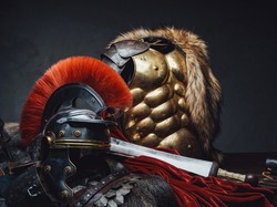 Close up shot of military roman armor and helmet
