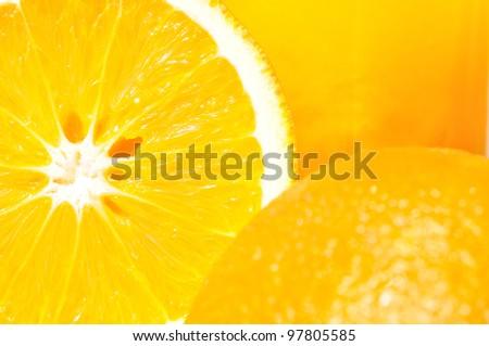 Close up shot of oranges. - stock photo