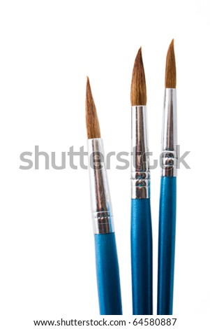 close up shot  of paintbrushes isolated on white