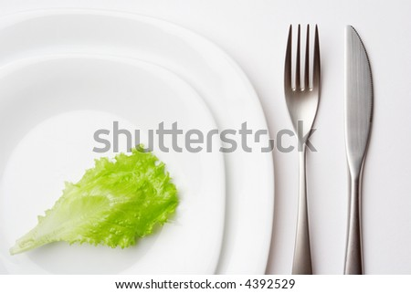 close-up shot of place setting with lettuce leaf