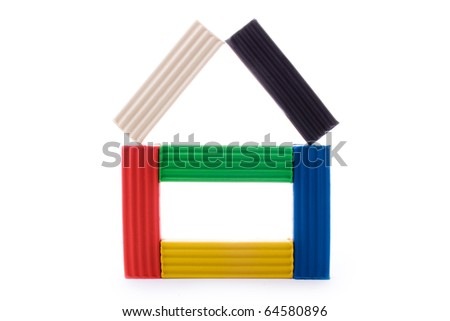 close up shot of  plasticine house isolated on white