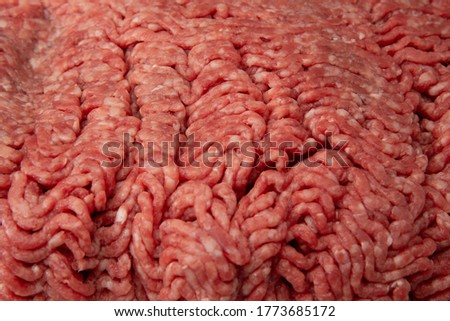 Close up shot of raw minced (ground) meat with copy space for text