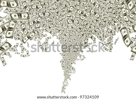 close up shot of several one American dollar in white background