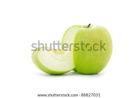 close up shot of sliced green apple isolated on white background