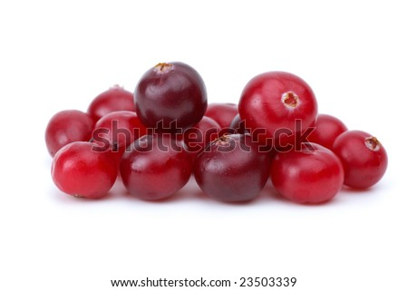Close-up shot of some cranberries isolated on the white background