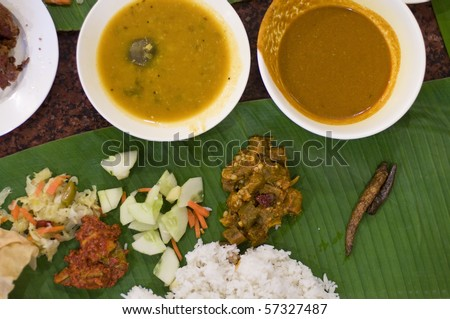 close up shot of south indian banana leaf meal