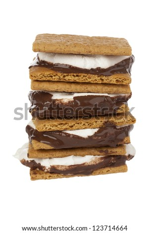 Close-up shot of stack of smore sandwich.