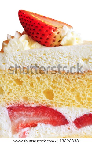 close up shot of strawberry short cake isolated on white backgrond (clipping path)