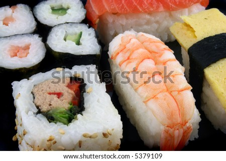 Close up shot of Sushi on a Black Background