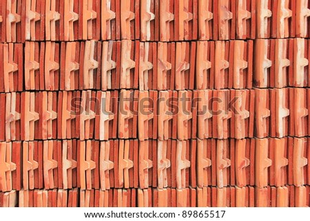 Close up shot of Thai temple roof tile stack
