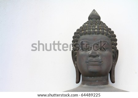 Close up shot of the Buddha's head