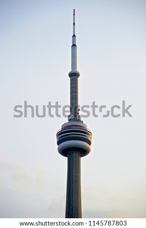 Close up shot of the CN Tower (Summer 2018 of Toronto, Canada).