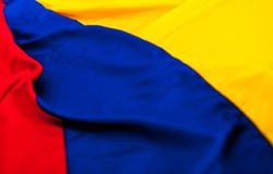 Close up shot of the Colombian flag
