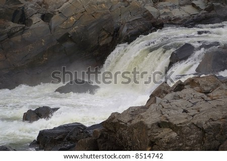 Close-up shot of the Great Falls of the Potomac River, outside of Washington, D.C.