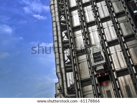 Close up shot of The Lloyd's Building (also known as The Inside-Out Building) with copy space.