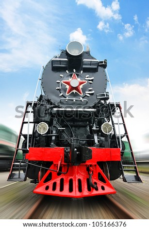 Close up shot of the old Soviet locomotive