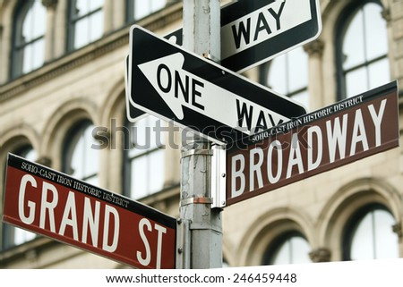 Close-up shot of traffic signs in New York city, USA.