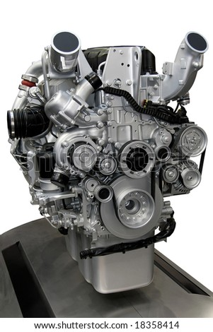Close up shot of turbo charged diesel engine