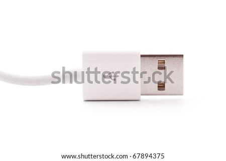 close up shot of usb cable isolated on white